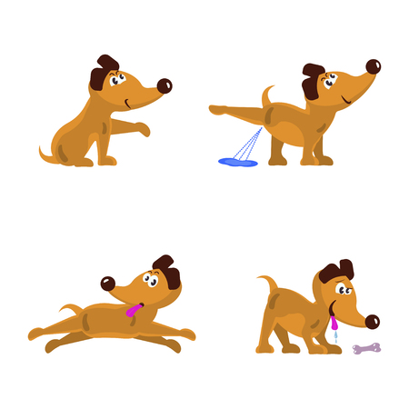 child sitting: Cute little dogs set Vector illustration.