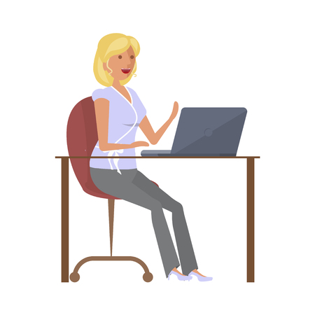 girl laptop: Girl at computer Vector illustration. Illustration