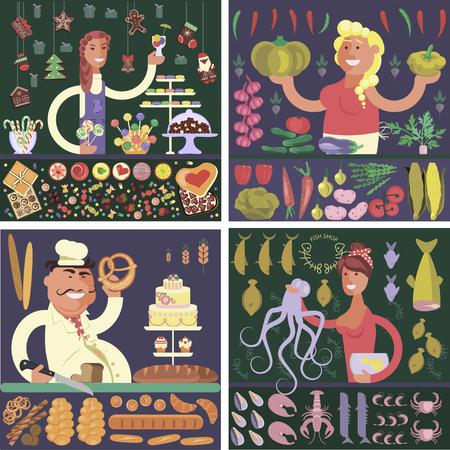 mujer en el supermercado: stickers Cartoon character sellers