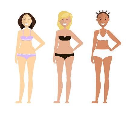 Fashion cute girls in bikini Vector illustration.
