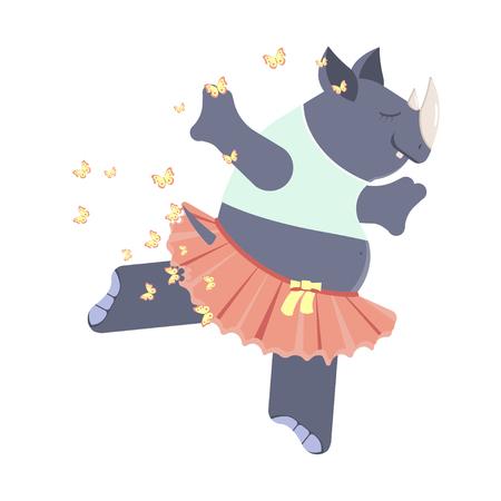 Cute rhinoceros ballerina in classical tutu. Graceful big dancer. Vector illustration eps 10 Illustration