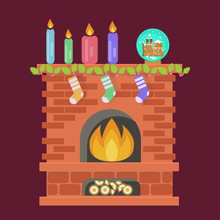 Christmas Fireplace with Family Hanging Three Socks. Xmas Lights Decoration in flat design. Vector illustration eps 10
