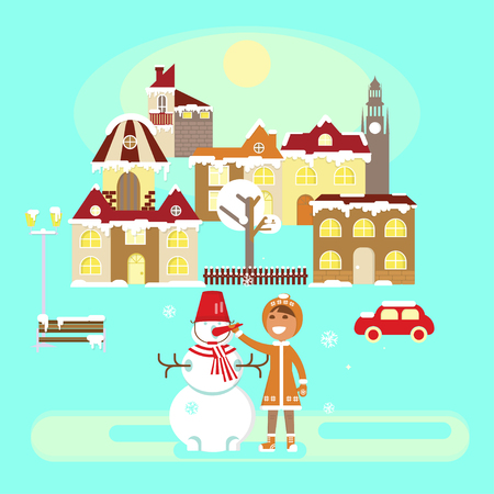 Winter colorful landscape banner. Baby girl with snowman in Snowy Small town at Christmas landscape in flat style. Vector illustration eps 10