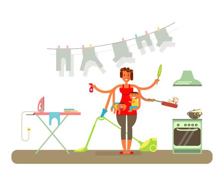 Huisvrouw maakt schoon