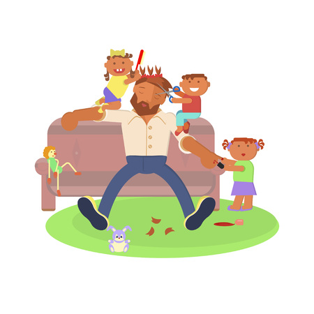 Father and children in sofa