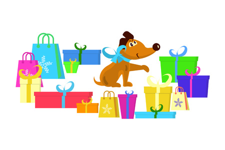 Cute puppy with gifts