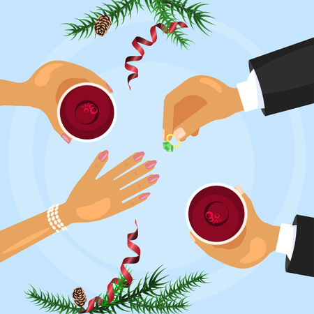 Christmas celebration and betrothal ring Illustration