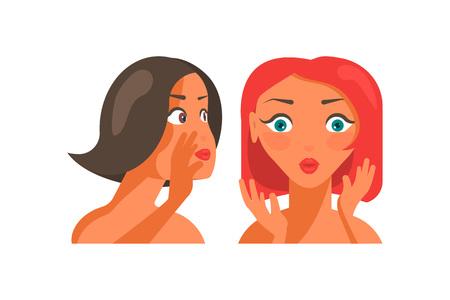 Beautiful girls characters gossiping Illustration
