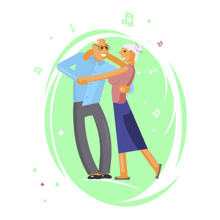 Happy senior couple Vector illustration isolated on white background.