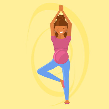Yoga for pregnant women in flat style. Character isolated on white background. Vector Illustration