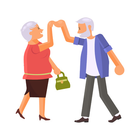 Happy senior couple dancing. Grandparents characters isolated. Vector illustration