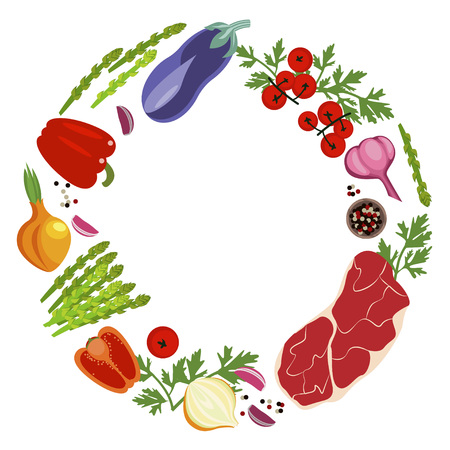 Banner of Raw food for cooking. Vegetables and ingredients on a white background in a rustic style. Top view vector illustration