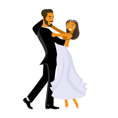 Happy young bride and groom are dance on their wedding day. Concept for the studio, wedding dance lessons. Vector illustration  Illustration