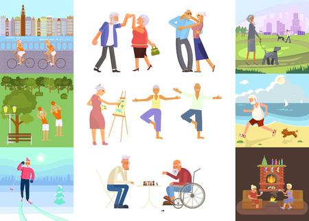 Banner di pensionati anziani età coppia in design piatto carattere. Nonno e nonna che camminano nel parco. Nonni con il bastone da passeggio e la sedia invalida all'aperto isolati. Vettore eps 10. Vettoriali
