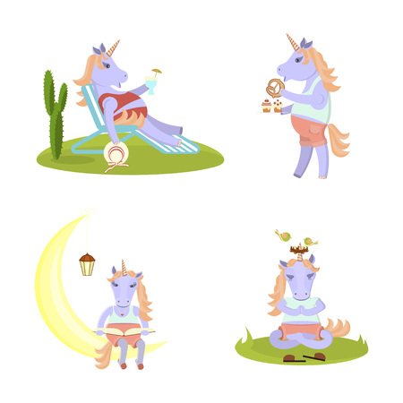 Set of funny Unicorn meditates, reads a book on a month, sits on a deckchair with a hat and cocktail. Animal fairytale character. Vector illustration