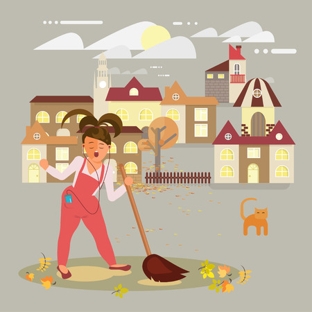 Woman sings, cleaning and raking leaves. Contributing into environment preservation. Ecology concept with people protect nature. Character volunteer female, Flat vector illustration eps 10.