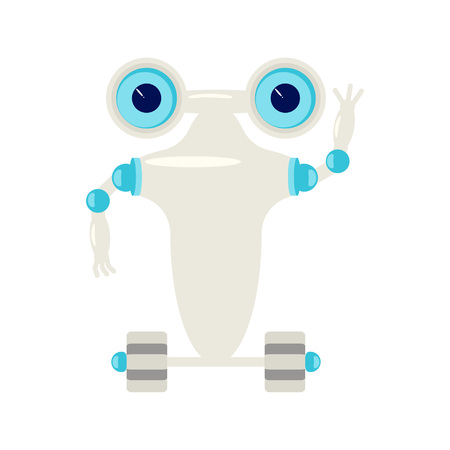 Cartoon Cute chat bot in flat design. Friendly Android Robot Character isolated on white background. Vector illustration eps 10