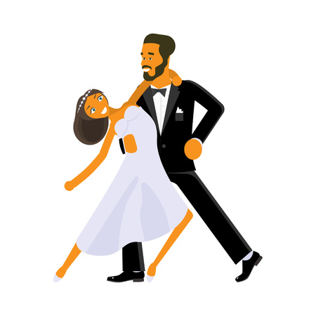 Happy young bride and groom are dance on their wedding day. Concept for the studio, wedding dance lessons. Vector illustration  Vettoriali