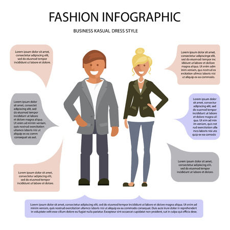 Business Cusual dress style infographic. Man and woman isolated on white background with speech bubbles. Vector illustration of people in formal clothes. Vettoriali