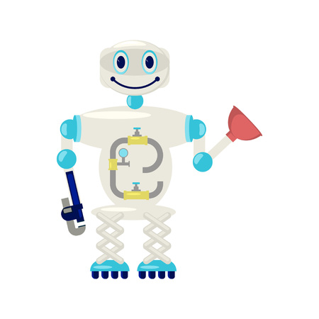 Home robot for housework - repair, cleaning, cleaner sweeping, cooking and laundry. Cute bot assistant isolated on white background in flat design. Vector illustration