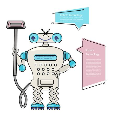 Cartoon Cute chat bot cleaner in flat design. Friendly Android Robot Character isolated on white background. Vector illustration Vettoriali