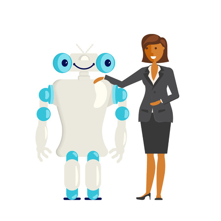 Business concept. Cartoon flat design business woman characters with android. Office worker. Vector illustration Illustration