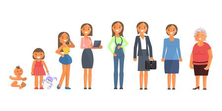 Carácter de mujer en diferentes edades. Ilustración de vector
