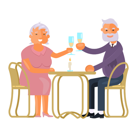 Healthy active lifestyle, old couple making toast.