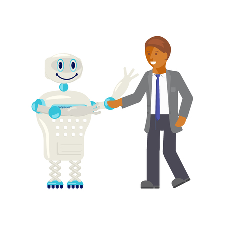 Artificial intelligence concept, man shaking hand with a robot.