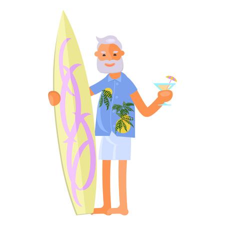 Old man with surfboard Illusztráció