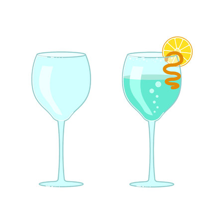 Wineglass and exotic cocktail. Illustration