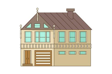Stone home or cottage building. Illustration