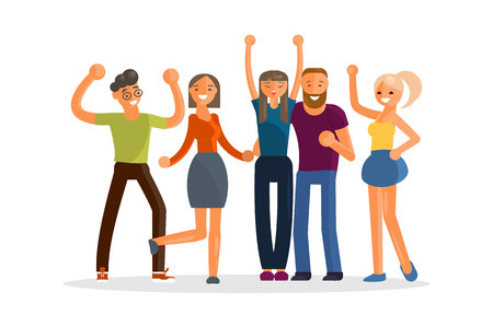 Happy group of students. Young people in flat design isolated on white background. Vector illustration.