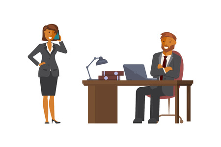 Manager man talking to lady employee Vector illustration.