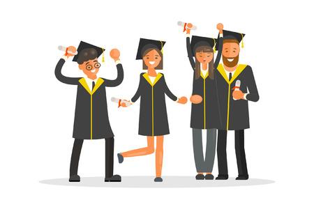 Happy graduate characters Иллюстрация