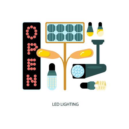 Led lighting Icons flat cartoon design illustration