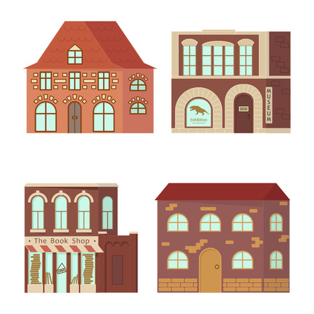 Stone home or cottage building Vector illustration.