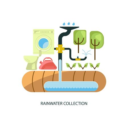 Rainwater collection system Vector illustration.