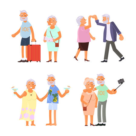 Grandparents doing different activities vector illustration set