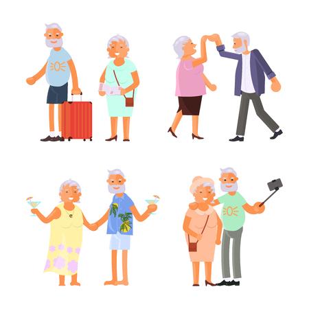 Grandparents doing different activities vector illustration set