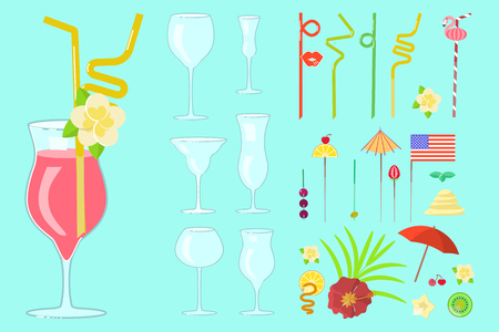 cocktail drink decoration Stock Illustratie