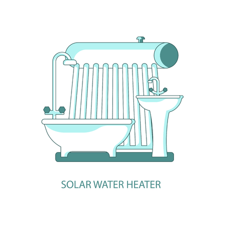 Modern eco technologies in the city. Solar water heater for eco home. Icons in flat design. Vector illustration eps 10