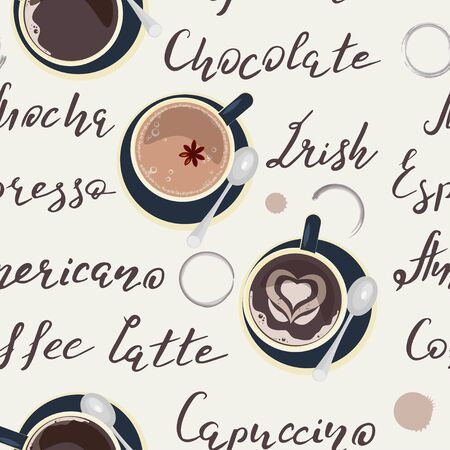 Seamless pattern with cup of coffee. Background vector illustration eps 10.