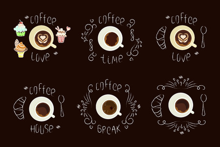 Set Chalk lettering and cup of Coffee on chalkboard top view. Template of banner or poster. Vector illustration eps 10