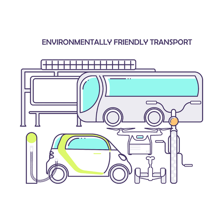 Modern eco technologies in the city. environmentally friendly transport. Icons in flat line design. Vector illustration eps 10 Çizim