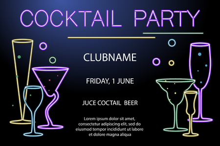 A Flyer for night cocktail party isolated on plain background. Stock Illustratie