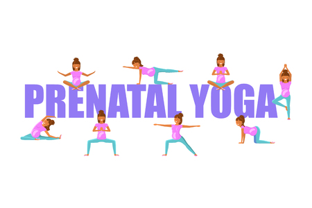 Prenatal Yoga for pregnant women isolated on plain background.
