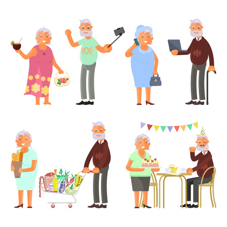 Healthy active lifestyle retiree for grandparents. Elderly people characters. Grandparents family Seniors isolated on white background Vector illustration eps 10 Illustration