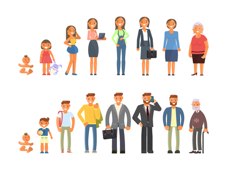 Man and woman characters in different ages in cartoon style. The life cycle including baby, child, teenager, adult and elderly person. Generation of people and stages of growing up. Vector illustration eps10