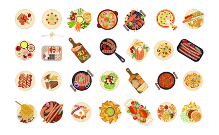 A various food dishes isolated on plain background.